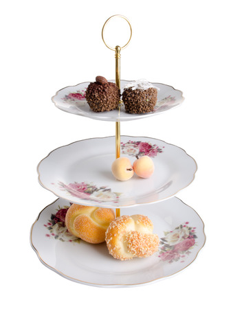 tier: three tier serving tray on white background