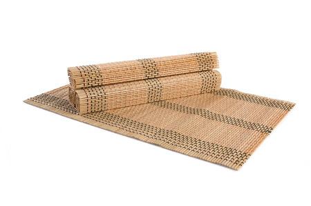 bamboo stick: bamboo mat on white background Stock Photo