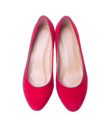 zapato: zapatos rojos de mujer de moda en el fondo blanco Foto de archivo