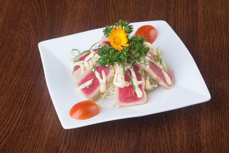 japanese cuisine. tuna sushi on background