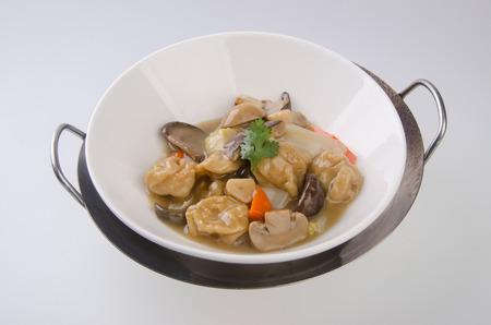 carne picada: El tofu y carne picada de arroz. Cocina china