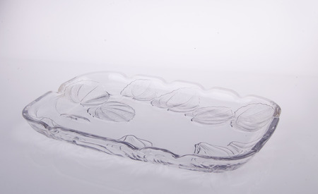 crystal bowl: crystal glass bowl on white background. Stock Photo