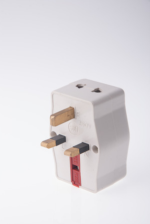 adapter: Power Adapter on the white background Stock Photo