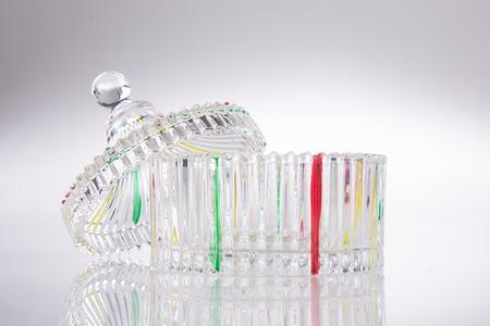 crystal background: jar. crystal jar on background. Stock Photo