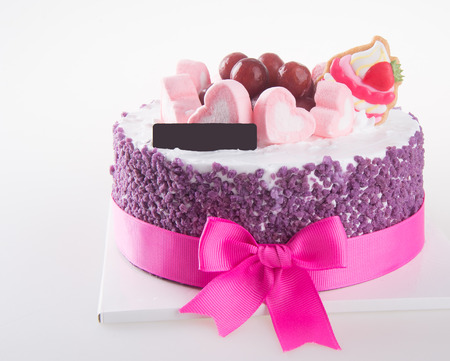 cream on cake: cake. ice cream cake with white background Foto de archivo