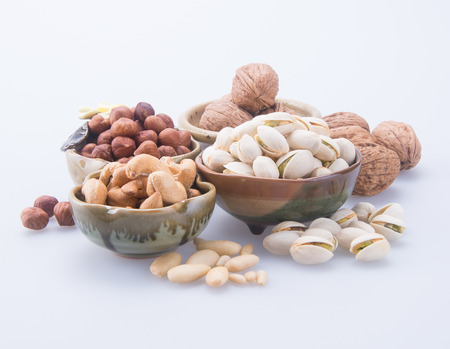 nuts. mixed nuts on background Archivio Fotografico