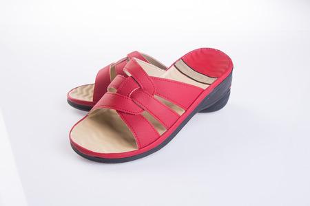 sandal: zapato. sandalia de moda femenina en el fondo Foto de archivo