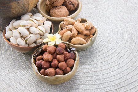nuts. mixed nuts on background Imagens