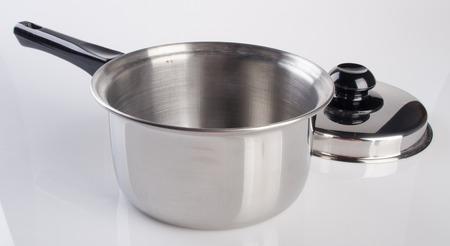 stainless steel pot: pot. stainless steel pot collection on background Stock Photo