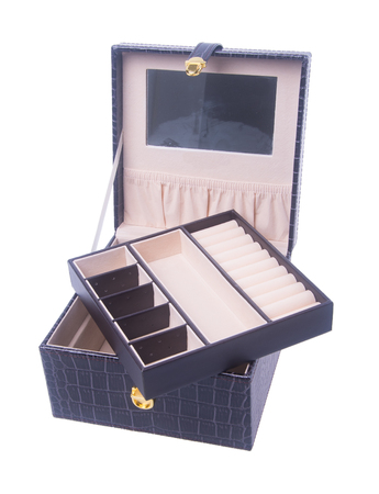jewel case: jewelry box or empty jewelery box on background