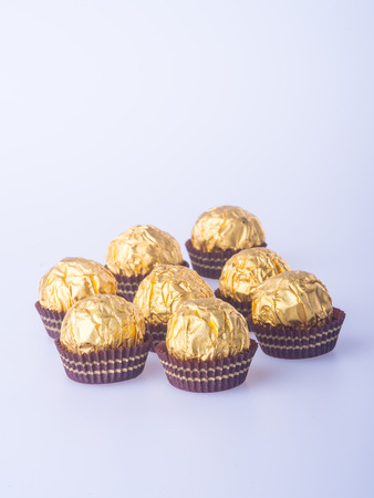 asserts: Chocolate ball or handmade chocolates ball on background