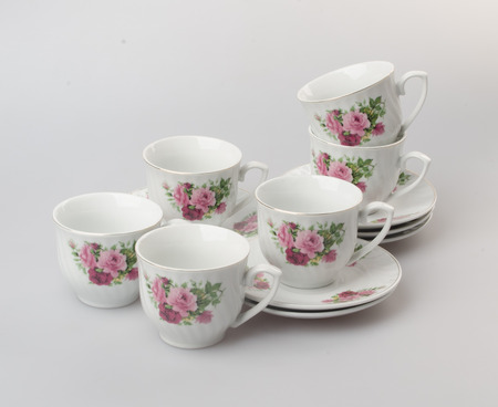 china watercolor paint: teacup or teacup set on a background