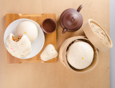 pao: pao and chinese tea on a background Stock Photo