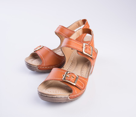 sandal: shoe or woman sandal on a background