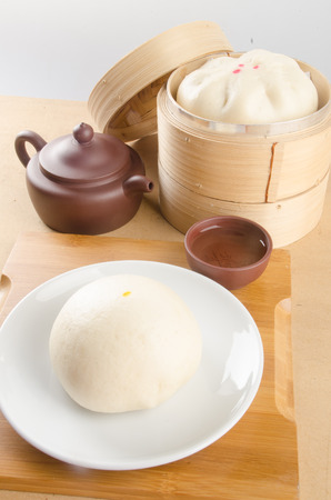 pao: pao or asian buns on a background Stock Photo