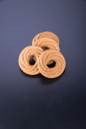 christmas cracker: cookie or ring biscuits on a background Stock Photo