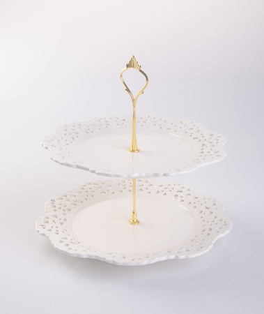 tier: tray or two tier serving tray on a background