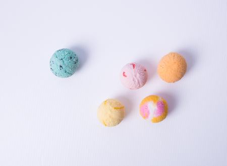 pistachio: ice cream scoop or ice cream ball on the background