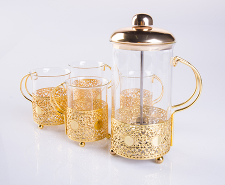 tea set or glass tea set on background Stock Photo
