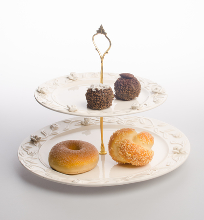 tray or serving tray with dessert on background Stock Photo