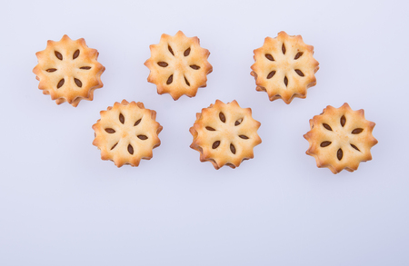 cookie biscuits with filling on the background