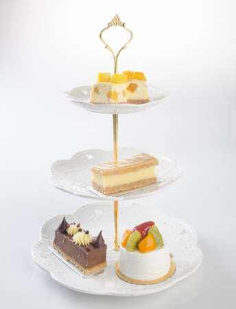 tray or three tier serving tray with dessert
