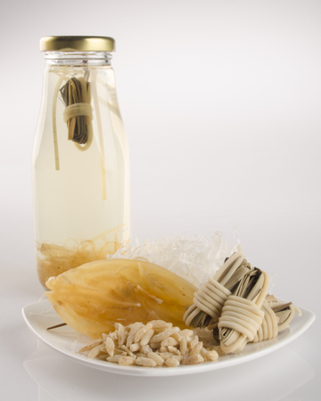 codonopsis roots: health tea or Chinese medicine health tea on background