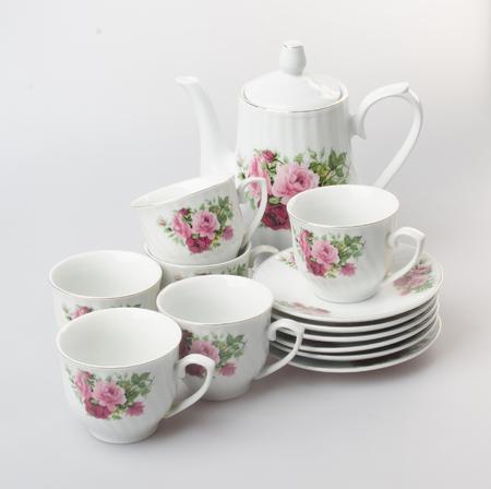 tea set or porcelain tea set on background Stock Photo