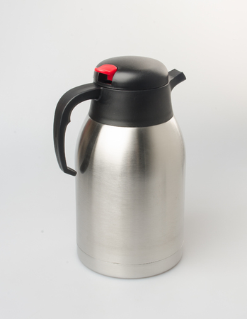 Thermo or Thermo flask from stainless stee on background