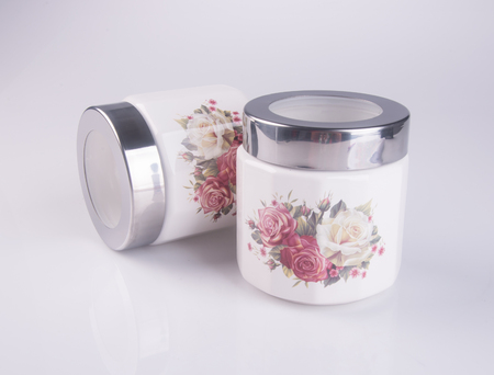 delftware: food container or ceramic food container on background Stock Photo