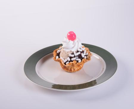 cornet: ice cream scoop or chocolate ice cream sundae