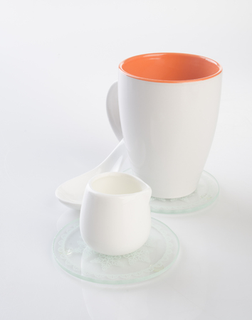 tea cup or coffee cup on a background Stock Photo
