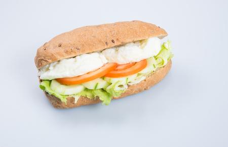 sandwich or tasty egg sandwich on background