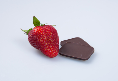 strawberry or fresh red strawberry and chocolate on background Stock Photo