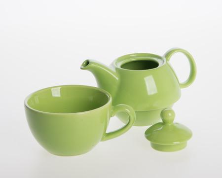 Tea pot set or Porcelain tea pot and cup on background Stok Fotoğraf