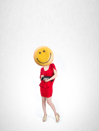 Woman or donut headed girl with design concept on background