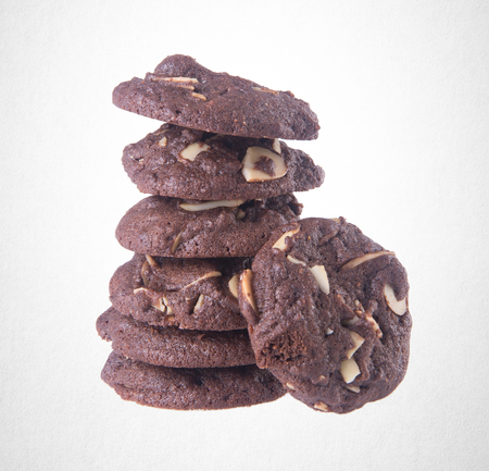 Cookies or Almonds chocolate cookies on background