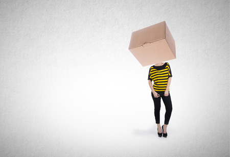 Woman or box headed girl with design concept on background