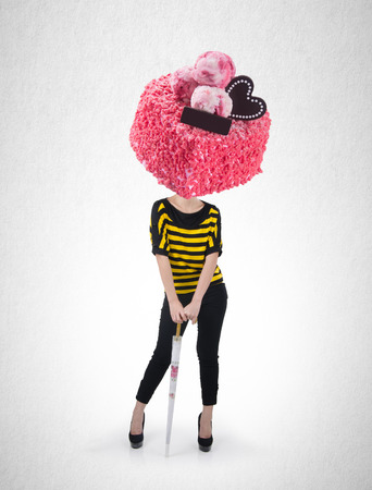 Woman or cake headed girl with design concept on background