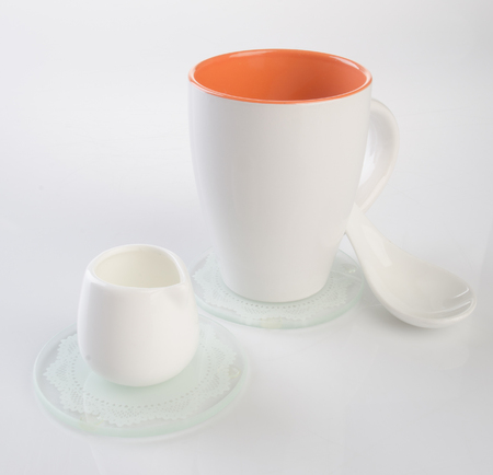 macchiato: tea cup or coffee cup on a background Stock Photo