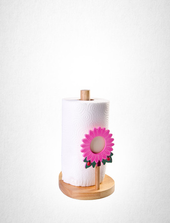 kitchen paper towel holder on white background Stock Photo