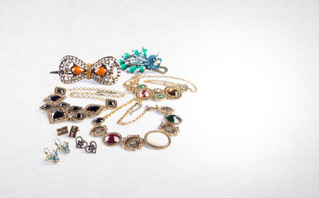 platinum: Jewelry or jewelry collection on a background Stock Photo