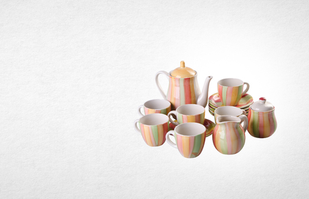 old english: tea set or antique porcelain tea set on background