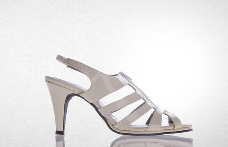 opentoe: shoe or white color lady shoes on a background Stock Photo