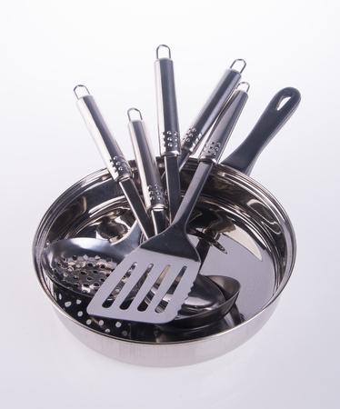 chrome: kitchen utensils. kitchen utensilson on background Stock Photo