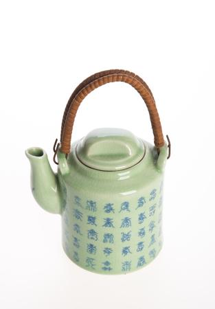 tea pot or ceramic teapot on background