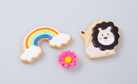 cake decoration or homemade lion cake decoration on a background Stock Photo
