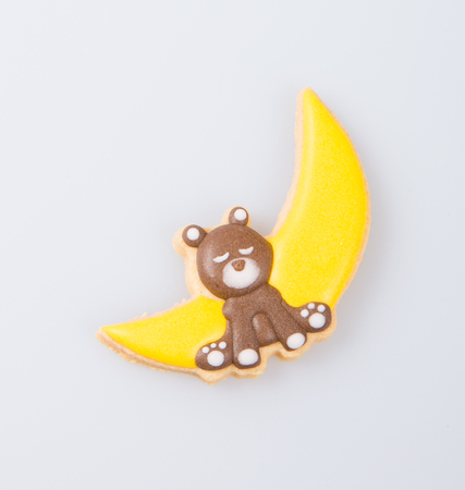 cake decoration or homemade bear cake decoration on a background