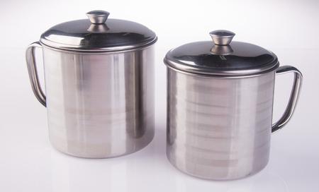 mug. stainless steel mug on background. Stock Photo