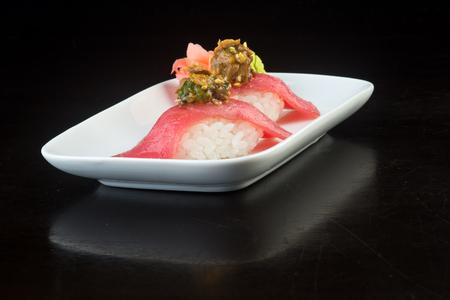 japanese cuisine. sushi tuna on background Stock Photo